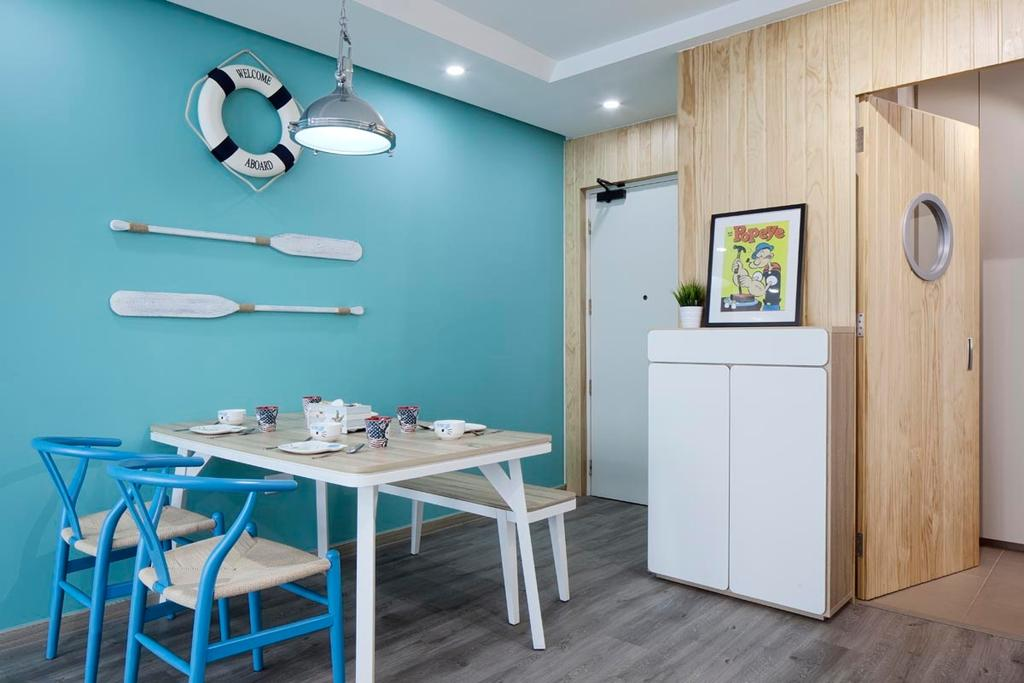 Contemporary, HDB, Dining Room, Punggol Walk (Block 635B), Interior Designer, Posh Home, Dining Chairs, Dining Bench, Dining Table, Hanging Light, Subnarine, Beach, Blue, Chair, Furniture, Indoors, Interior Design, Room, Table