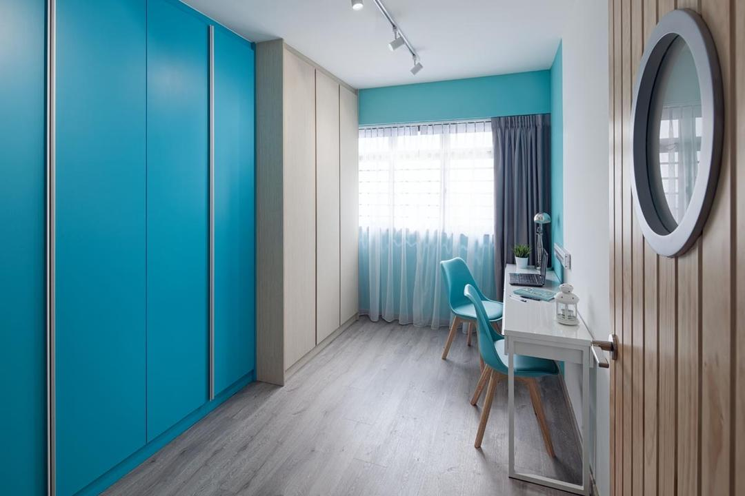 Punggol Walk (Block 635B), Posh Home, Contemporary, Study, HDB, Desk, Chairs, Curtain, Track Lights, Wood Floor, Cupboard, Wardrobe, Porthole, Window, Chair, Furniture, Machine
