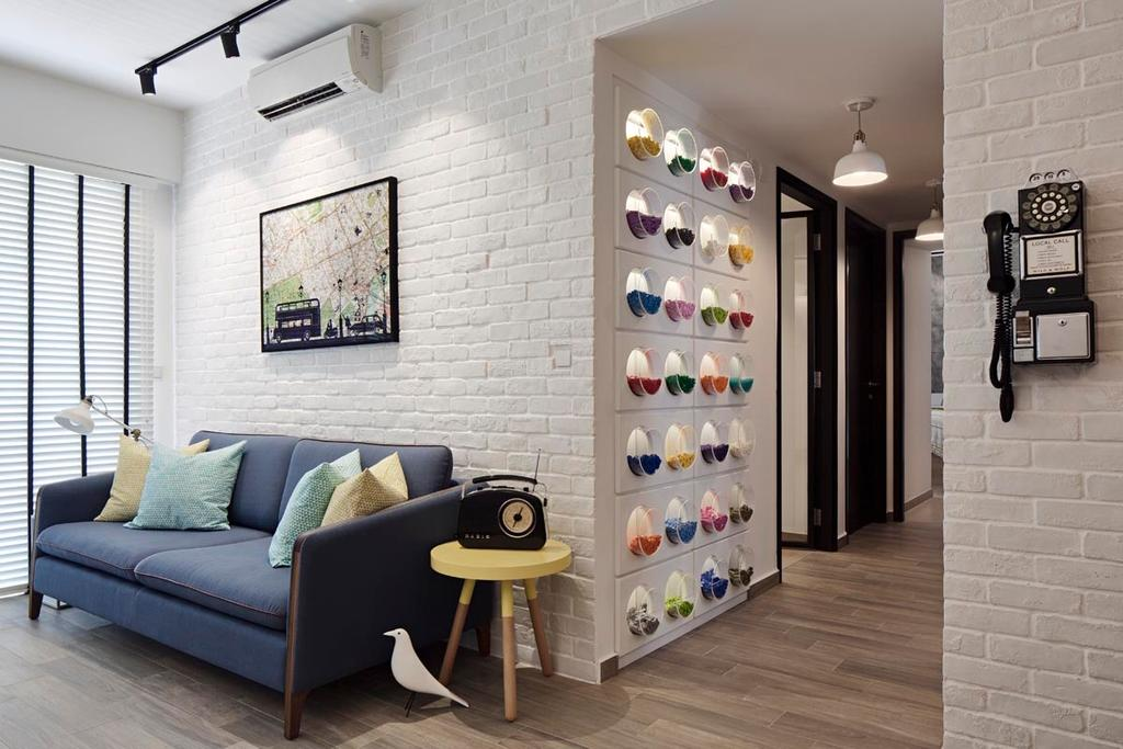 Eclectic, Condo, Living Room, RiverParc Residence (Punggol), Interior Designer, Posh Home, Scandinavian, Brick Wall, Sofa, Blinds, Side Table, Stool, Track Lights, Lego Stroage, Wood Floor, Chair, Furniture