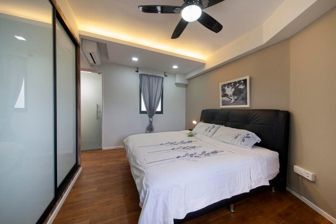 Punggol Waterway Terraces, Voila, Contemporary, Bedroom, HDB, Awkward Corner, Awkward Layout, Layout, Bed, Furniture, Light Fixture, Indoors, Interior Design, Room