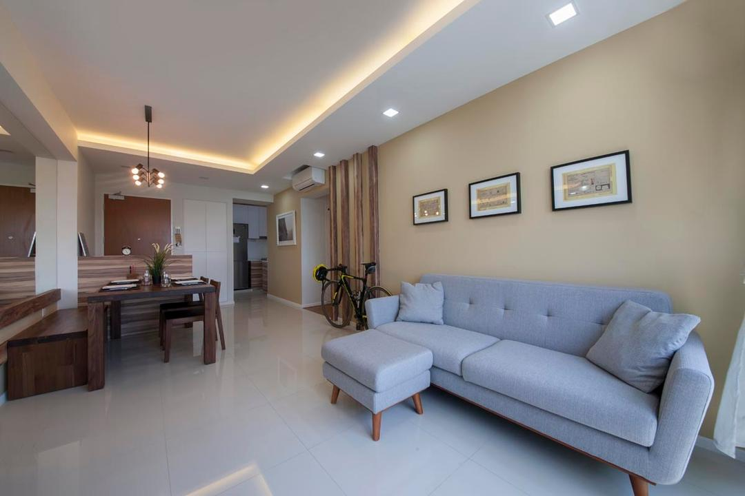 Punggol Waterway Terraces, Voila, Contemporary, Living Room, HDB, Sofa, Yellow, Brown, Tropical, Resort, Lodge, Oasis, Woody, Wood Accents, Simple, Tiles, Cove Lighting, Grey Sofa, Wooden Beams, Beams, Couch, Furniture, Hardwood, Stained Wood, Wood