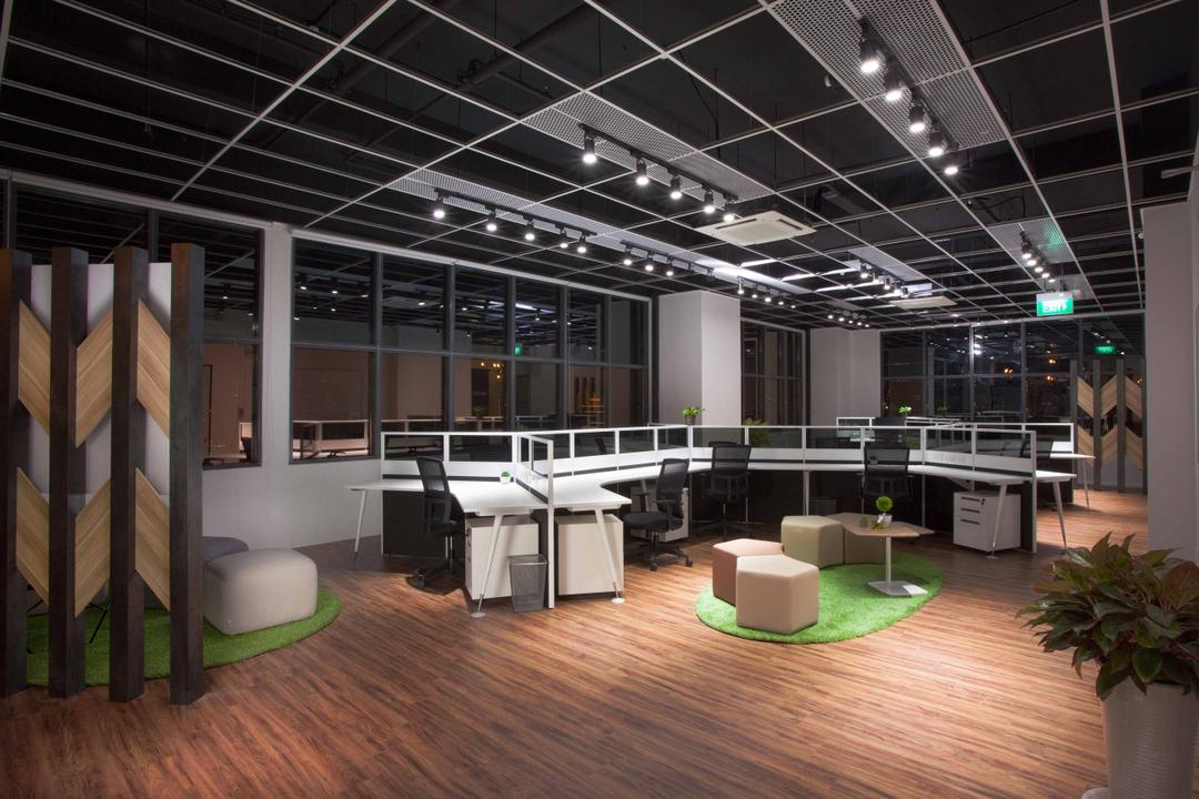 CT Hub 2 Office, Project Guru, Industrial, Eclectic, Commercial, Work Desk, Recreation Space, Open Layout, Open Concept, Wood Flooring, Cubicle, Desk, Office Chair, Flora, Jar, Plant, Potted Plant, Pottery, Vase, Flooring