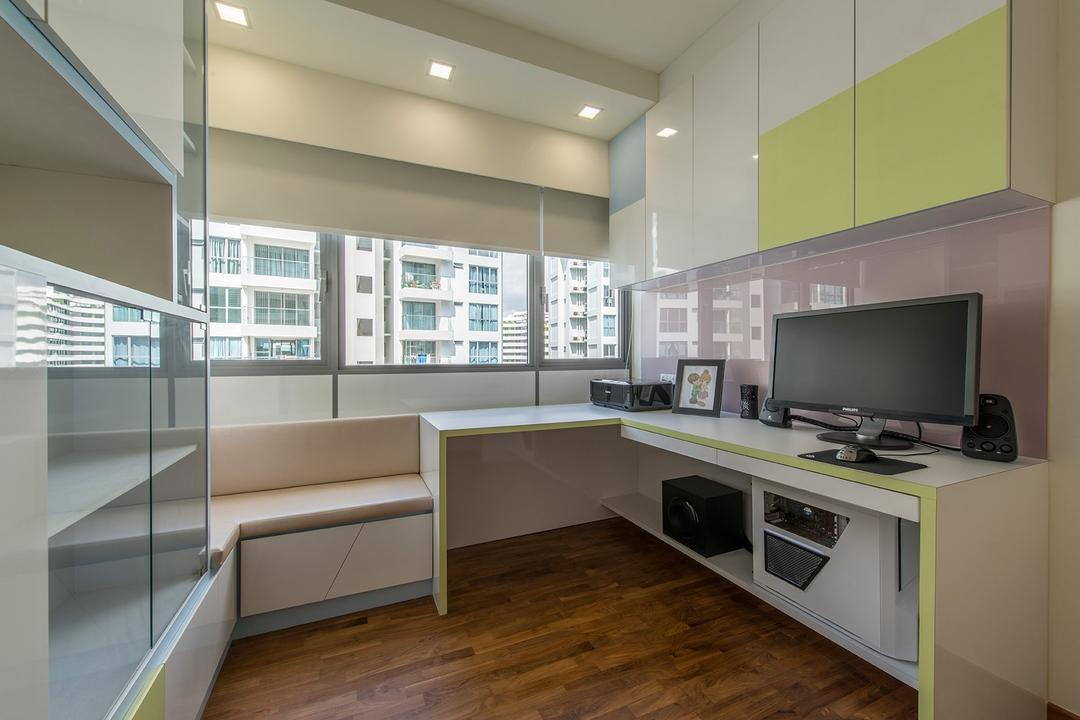 A Treasure Trove, Ace Space Design, Traditional, Study, Condo, Blinds, Purple, Lilac, Work Desk, Study Deks, Cabinet, Indoors, Interior Design, Kitchen, Room, Electronics, Lcd Screen, Monitor, Screen