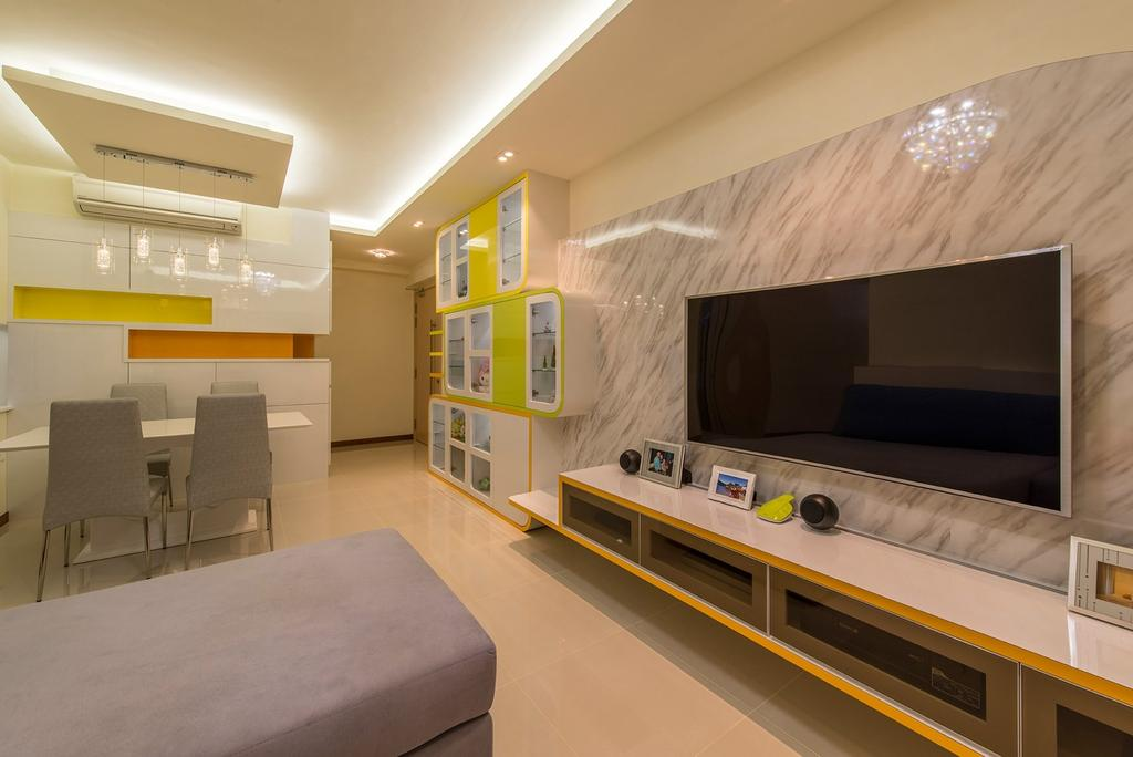 Traditional, Condo, Living Room, A Treasure Trove, Interior Designer, Ace Space Design, Marble Panel, Feature Wall, Floating Console, Wide Screen Tv, L Shaped Sofa, Fabric Sofa, Yellow Green, Couch, Furniture, Indoors, Interior Design