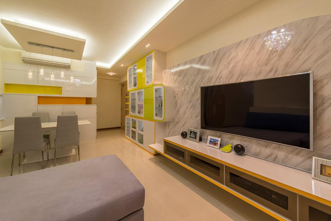 A Treasure Trove, Ace Space Design, Traditional, Living Room, Condo, Marble Panel, Feature Wall, Floating Console, Wide Screen Tv, L Shaped Sofa, Fabric Sofa, Yellow Green, Couch, Furniture, Indoors, Interior Design