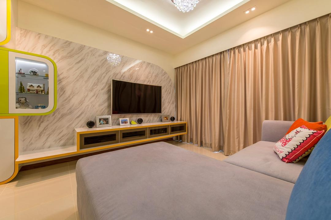 A Treasure Trove, Ace Space Design, Traditional, Living Room, Condo, Marble Board, Marble Panel, Display, Storage, Wall Storage, Curtains, Recessed Lightings, Concealed Lighting, L Shaped Sofa, Floating Console, Curves, Indoors, Room