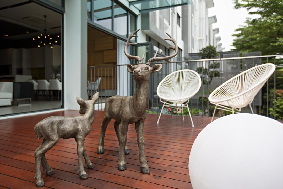 Desa Park City, Turn Design Interior, Contemporary, Balcony, Landed, Chair, Furniture, Animal, Deer, Mammal, Wildlife