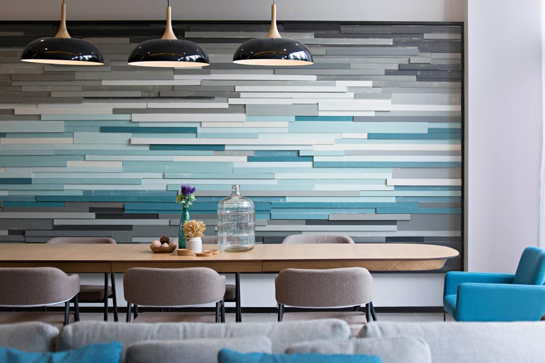 The Mansions B, Turn Design Interior, Scandinavian, Dining Room, Landed, Blue, Stripes, Colourful, Feature Wall, Wall, Wall Decor, Pendant Lighting, Pendant Lamp, Chairs, Dining Table, Long Table, Wood Panels, Panelling, Chair, Furniture