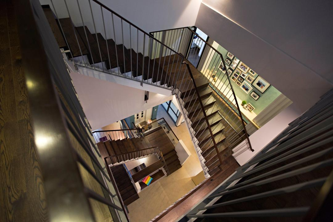 The Mansions B, Turn Design Interior, Scandinavian, Landed, Dark Colours, Dark, Staircase, Stairs, Photo Frames, Painting, Banister, Handrail, Building, Housing
