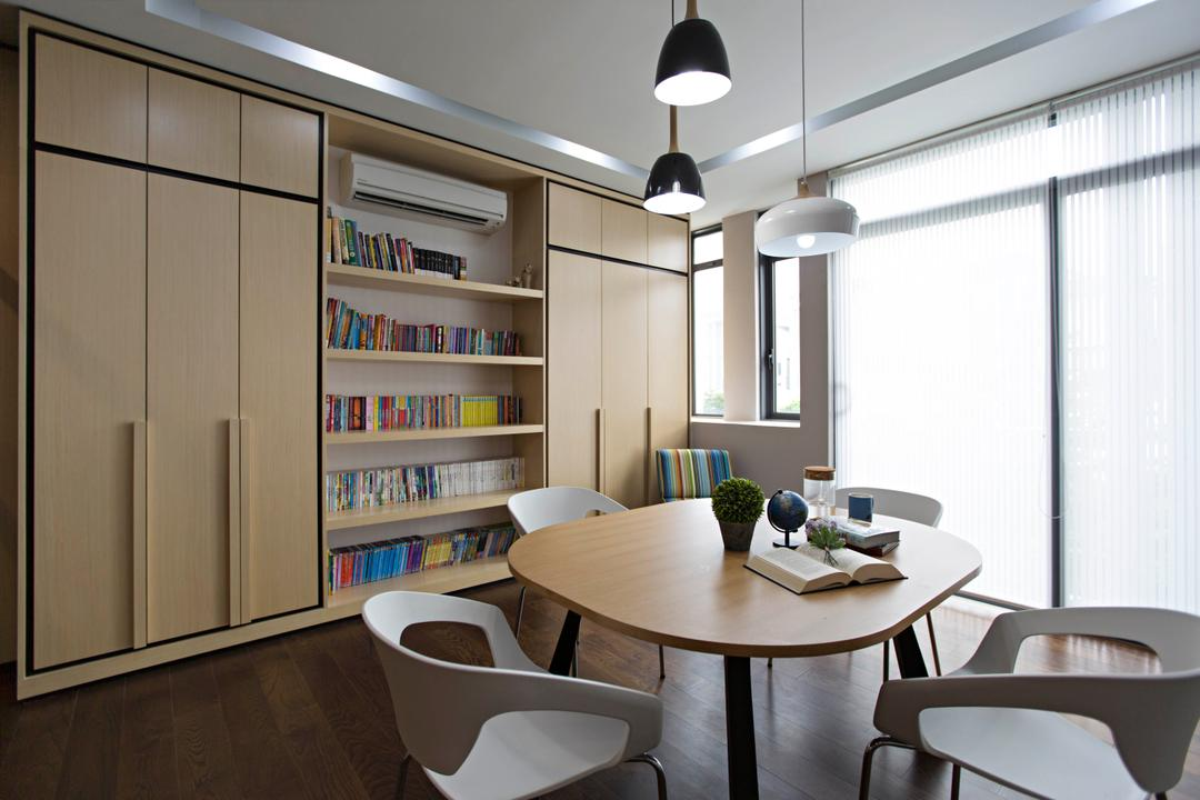 The Mansions B, Turn Design Interior, Scandinavian, Study, Landed, Table, Chairs, Pendant Lighting, Pendant Lamp, Cabinet, Cabinetry, Wall Shelf, Shelving, Bookshelf, Wood, Light Wood, Books, Dining Table, Furniture, Chair, Dining Room, Indoors, Interior Design, Room, Door, Sliding Door, Bookcase