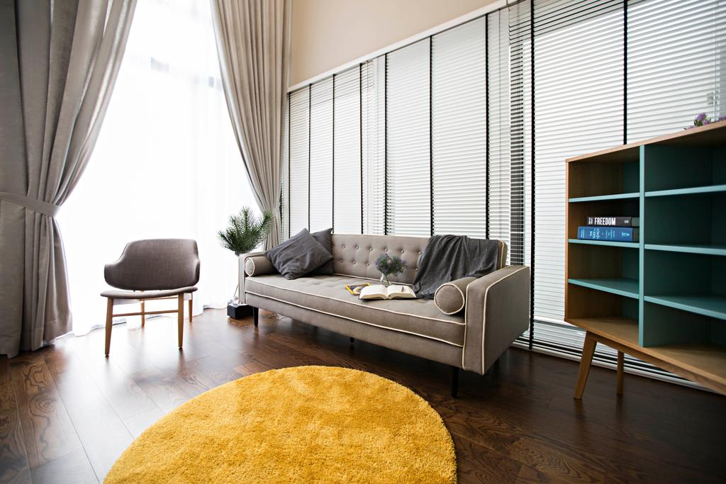 Scandinavian, Landed, Living Room, The Mansions B, Interior Designer, Turn Design Interior, Sofa, Couch, Chairs, Fabric Sofa, Carpet, Round Carpet, Shelves, Shelving, Cabinet, Curtains, Storage, Storage Space, Blinds, Venetian Blinds, Wood Flooring, Furniture, Curtain, Home Decor