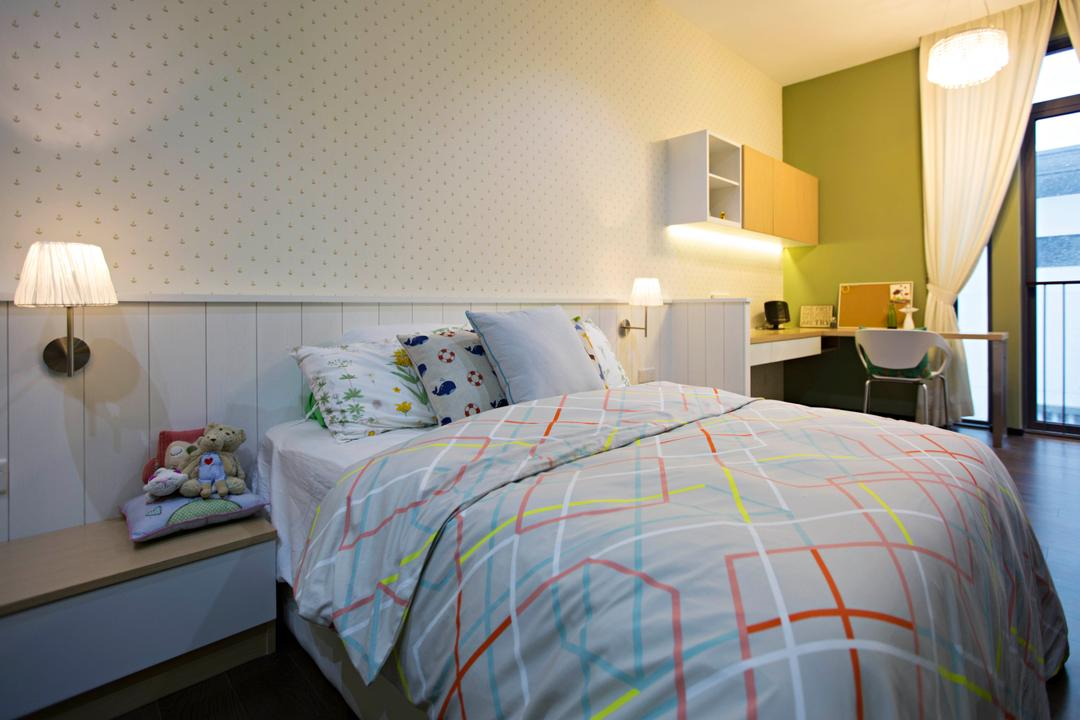 The Mansions B, Turn Design Interior, Scandinavian, Bedroom, Landed, Bed, Bedside Table, Bedside Lamp, Wallpaper, Shelf, Wall Shelf, Headboard, Furniture, Indoors, Interior Design, Room