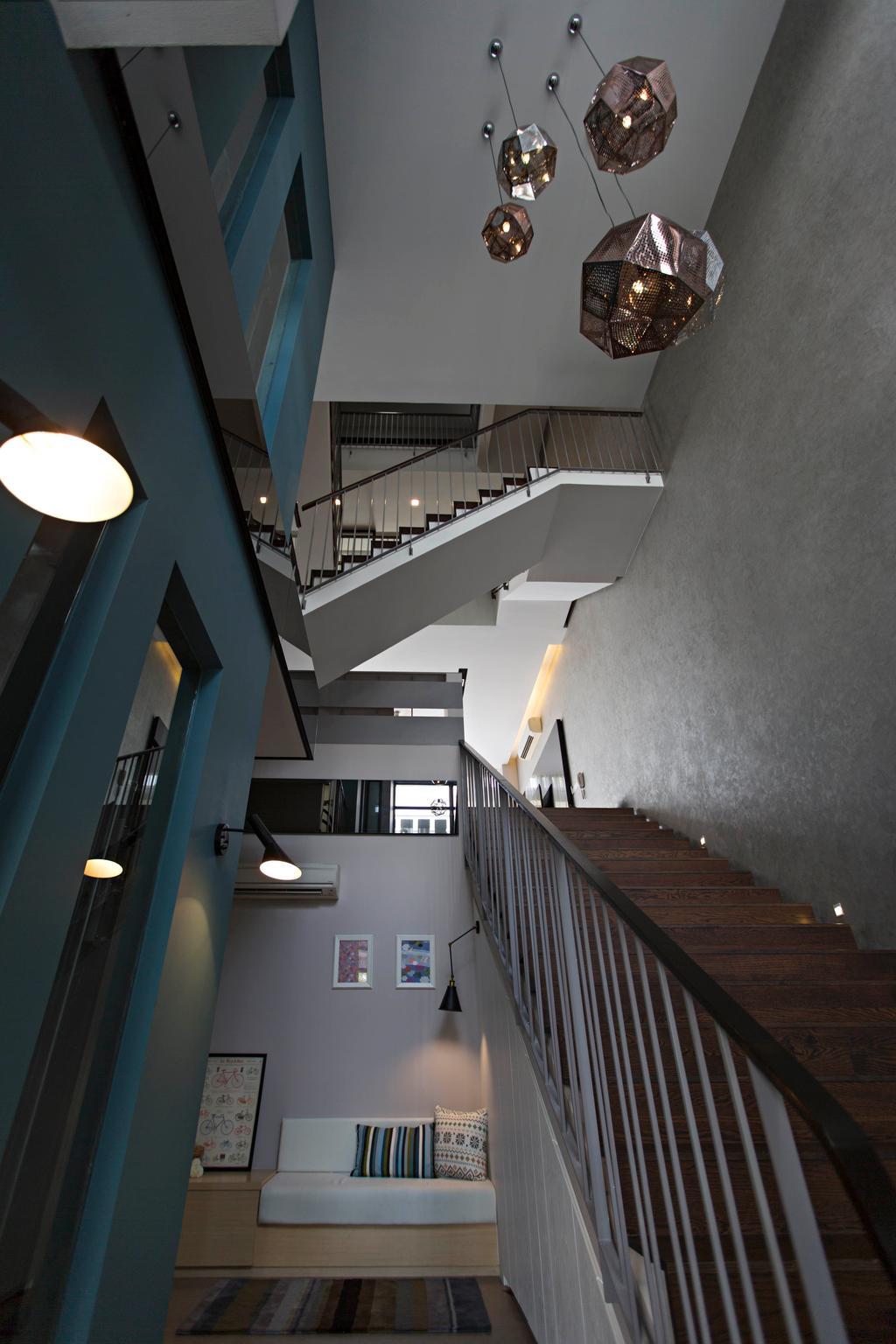 Scandinavian, Landed, The Mansions B, Interior Designer, Turn Design Interior, Staircase, Stairs, Dark, Dark Colours, Dark Walls, Pendant Lighting, Pendant Lamp, Cushion Bench, Small Sofa, Home Decor, Lighting, Banister, Handrail
