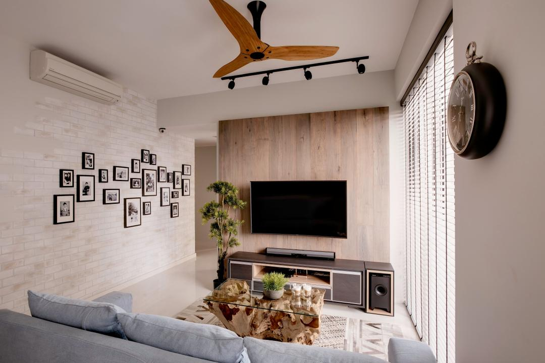 Sky Habitat, Juz Interior, Scandinavian, Industrial, Living Room, Condo, Brick Wall, Cream Brick, Blinds, Venetian Blinds, Haiku Fan, Brown Ceiling Fan, Ceiling Fan, Tv Console, Tv Wooden Panel, Wood Panel, Fabric Sofa, Tiles, Gallery Wall, Wall Art, Couch, Furniture, Appliance, Electrical Device, Microwave, Oven, Indoors, Interior Design