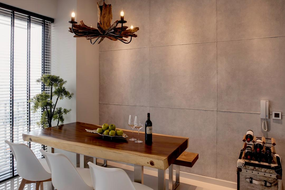 Sky Habitat, Juz Interior, Scandinavian, Industrial, Dining Room, Condo, Tiles, Grey Panel, Rustic, Suar, Solid Wood, Big Tile, Panel Tiles, Eames Chair, Track Lights, Venetian Blinds, Wood Suar, Organic Wood, Thick Wood, Dining Table, Furniture, Table, Indoors, Interior Design, Room, Chandelier, Lamp, Flora, Jar, Plant, Potted Plant, Pottery, Vase, Bench
