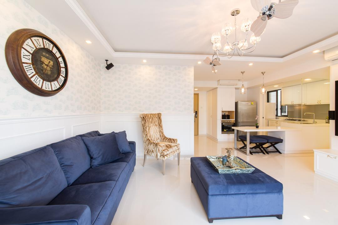 Twin Waterfalls, Voila, Vintage, Living Room, Condo, Wall Clock, Wallpaper, Peach, Beige, Femininew, Wainscoting, Fabric Sofa, Velvet, Ottoman, Armchair, Blue Sofa, Chandelier, Recessed Ceiling, Recessed Lightings, Open Layout, Feminine, Couch, Furniture, Indoors, Interior Design, Kitchen, Room