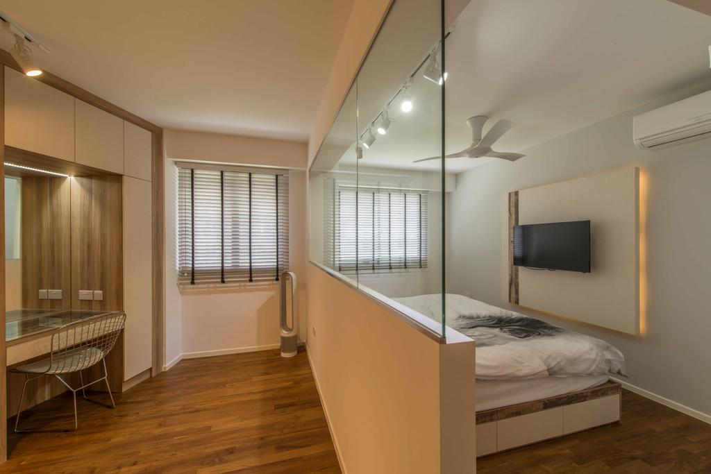 Modern, HDB, Bedroom, Punggol Waterway Terraces 1, Interior Designer, Aart Boxx Interior, Minimalistic, Scandinavian, Half Hack, Glass Panel, Ceiling Fan, White And Brown, Tv Panel, Chair, Furniture, Flooring