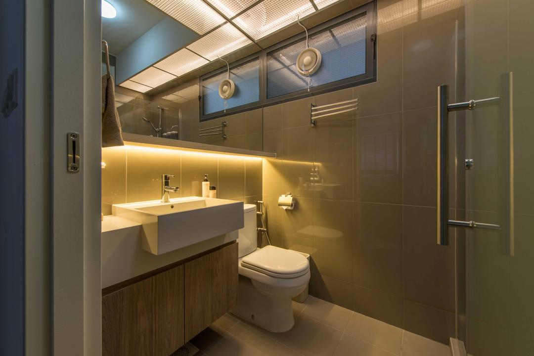 Punggol Waterway Terraces 1, Aart Boxx Interior, Modern, Minimalistic, Scandinavian, Bathroom, HDB, Tiles, Swing Door, Cosy, Underlight, Mirror, Water Closet, Toilet, Indoors, Interior Design, Room
