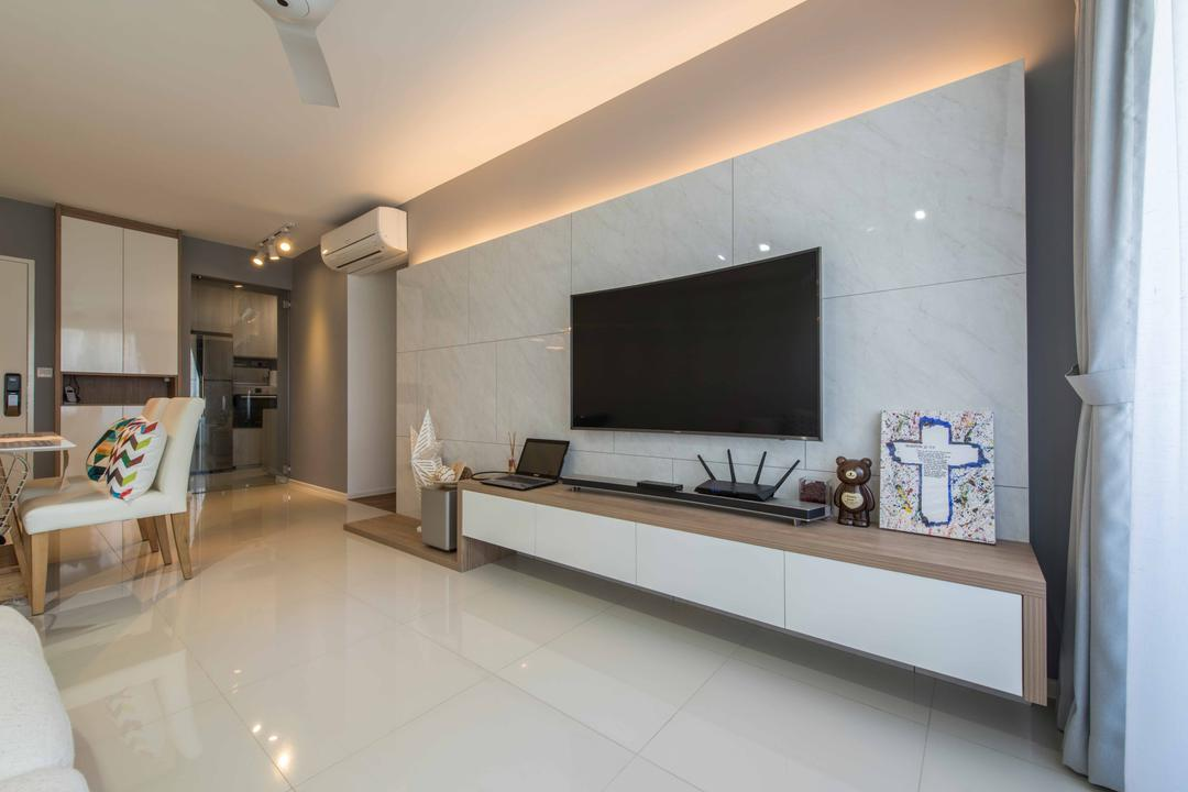 Punggol Waterway Terraces 1, Aart Boxx Interior, Modern, Minimalistic, Scandinavian, Living Room, HDB, White, Brown, Glossy, Reflective, Tv Panel, Tiles, Big Tiles, Floating Console, Curtains, Spacious, Walkway, Couch, Furniture, Indoors, Interior Design, Flooring