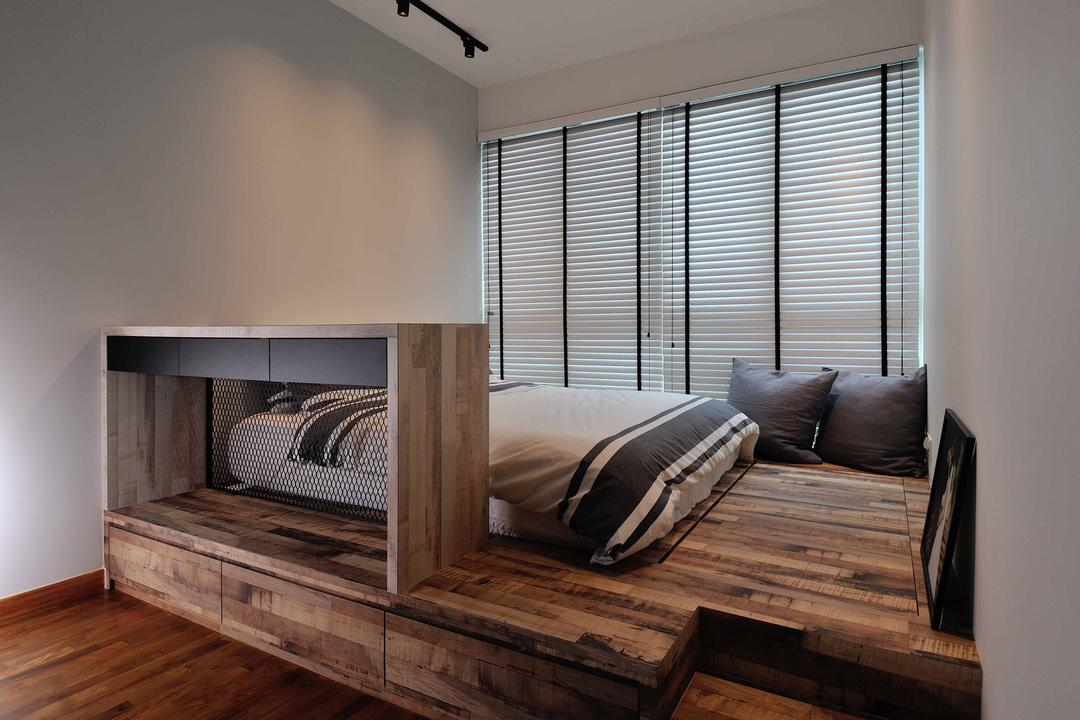One Canberra, Aart Boxx Interior, Industrial, Minimalistic, Bedroom, Condo, Platform Bed, Hidden Storage, Floor Storage, Removable Floor Boards, Floor Boards, Wood Flooring, Blinds, Venetian Blinds, Concealed Storage