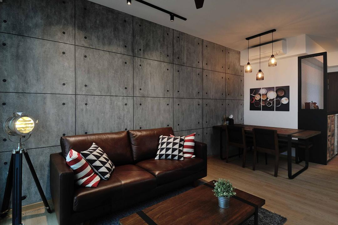 One Canberra, Aart Boxx Interior, Industrial, Minimalistic, Living Room, Condo, Gray Tiles, Cement Tiles, Steel Look A Like, Rustic, Leather Sofa, Commune Sofa, Coffee Table, Dark Wood, Dark Brown, Cosy, Brown, Masucline, Vintage Floor Lamp, Track Lights, Couch, Furniture, Dining Table, Table