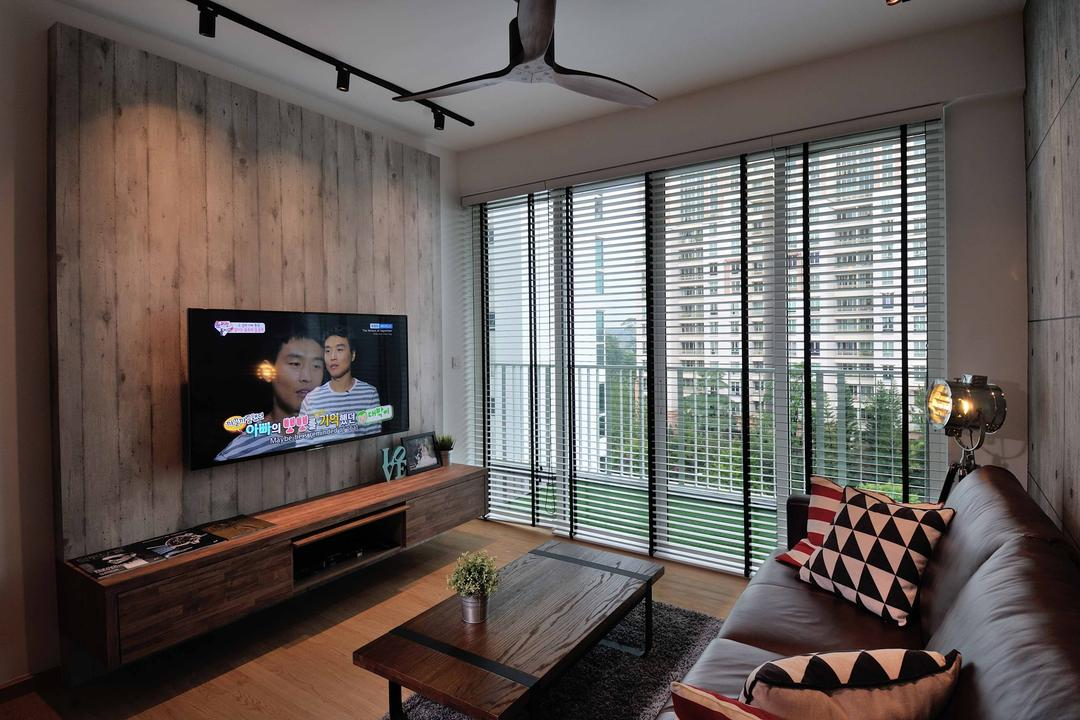 One Canberra, Aart Boxx Interior, Industrial, Minimalistic, Living Room, Condo, Wood Panel, Floating Console, Venetian Blinds, Spin Fan, Track Lights, Leather Sofa, Brown Leather, Human, People, Person, Chair, Furniture
