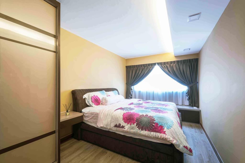 Traditional, HDB, Bedroom, Tampines (Block 524A), Interior Designer, Cozy Ideas Interior Design, Architecture, Building, Skylight, Window, Bed, Furniture, Indoors, Interior Design, Room
