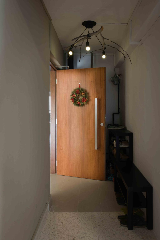 Industrial, HDB, Bedroom, Telok Blangah (Block 67), Interior Designer, Cozy Ideas Interior Design, Spider Lights, Entrance, Foyer, Porch, Shoe Cabinet, Shoe Rack, Shoe Display, Shoes Storage, Wreath