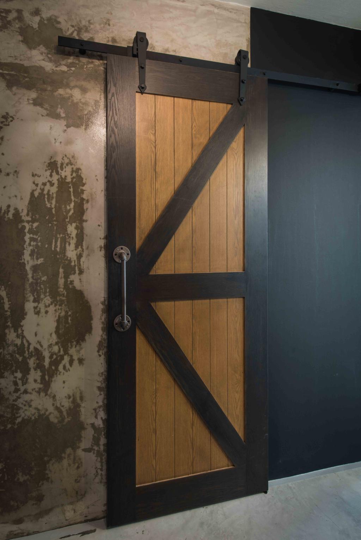 Industrial, HDB, Living Room, Telok Blangah (Block 67), Interior Designer, Cozy Ideas Interior Design, Barn Door, Rustic Door, Unfinished Wall, Cement Wall, Cement Screed, Raw, Edgy
