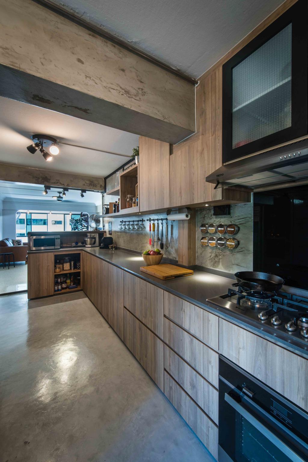 Industrial, HDB, Kitchen, Telok Blangah (Block 67), Interior Designer, Cozy Ideas Interior Design, Open Concept, Open Layout, Stove, Gas Stove, Oven, Spacious, Kitchen Workspace, Indoors, Interior Design, Room, Sink