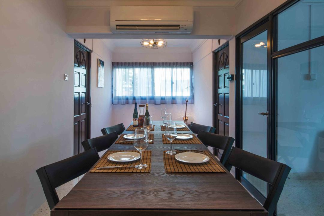 Telok Blangah (Block 67), Cozy Ideas Interior Design, Industrial, Dining Room, HDB, Long Table, Wooden Table, Narrow Layout, Linear Layout, Wooden Chairs, Thick Wood, Solid Wood, Pendant Lights, Caged Lamp, Indoors, Interior Design, Room, Dining Table, Furniture, Table, Couch, Chair
