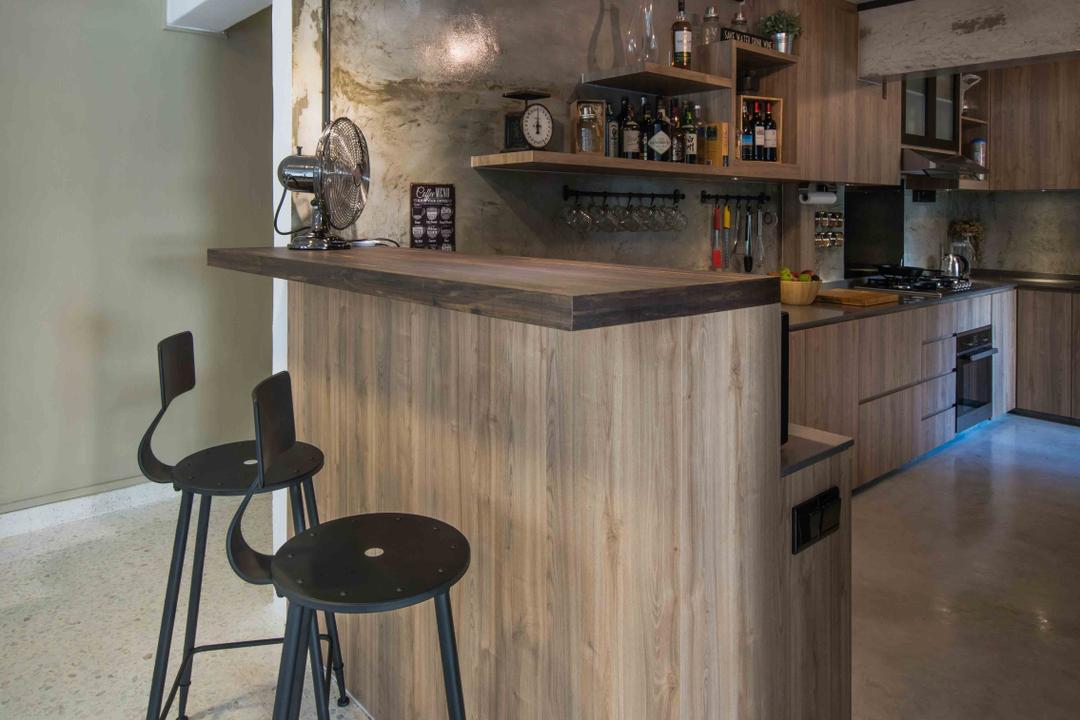 Telok Blangah (Block 67), Cozy Ideas Interior Design, Industrial, Kitchen, HDB, Bar Stools, Retro, Eclectic, High Stool, Chair, Furniture, Bar Stool, Indoors, Interior Design, Room, Flooring