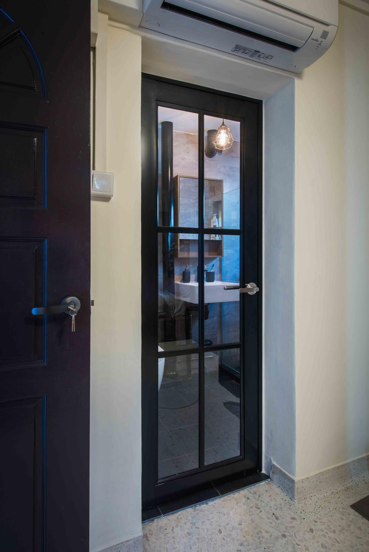 Industrial, HDB, Kitchen, Telok Blangah (Block 67), Interior Designer, Cozy Ideas Interior Design, Kitchen Entrance, European Door, Black Door, Window