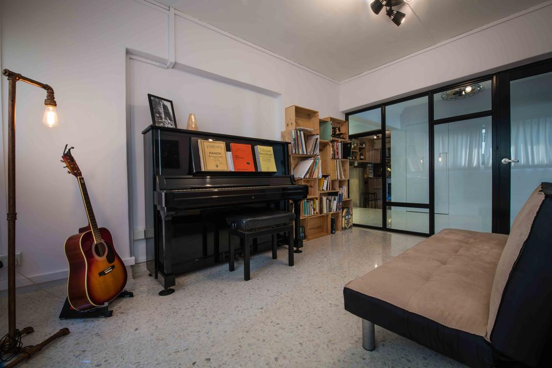 Telok Blangah (Block 67), Cozy Ideas Interior Design, Industrial, Study, HDB, Music Room, Entertainment Room, Guitar, Piano, Couch, Lounge, Bookcase, Cubbyhole, Glass Wall, Leisure Activities, Music, Musical Instrument, Lute, Mandolin, Indoors, Room