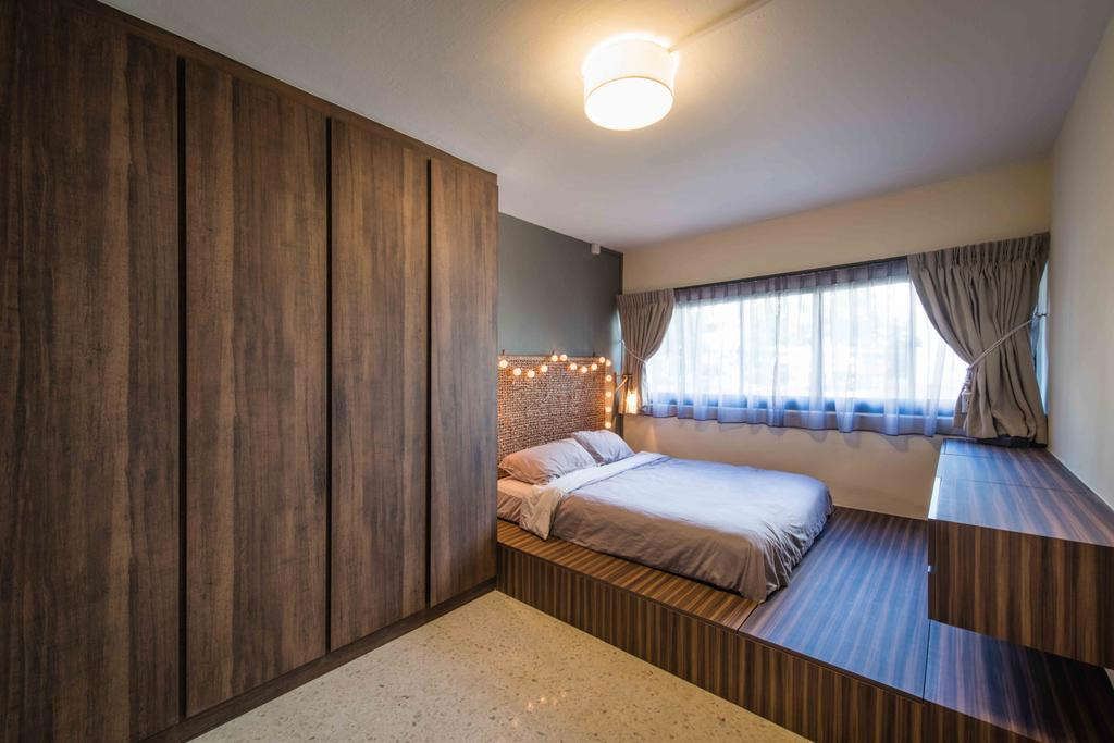 Industrial, HDB, Bedroom, Telok Blangah (Block 67), Interior Designer, Cozy Ideas Interior Design, Wood Laminate, Dark Wood, Platform Bed, Hidden Storage, Indoors, Interior Design, Room