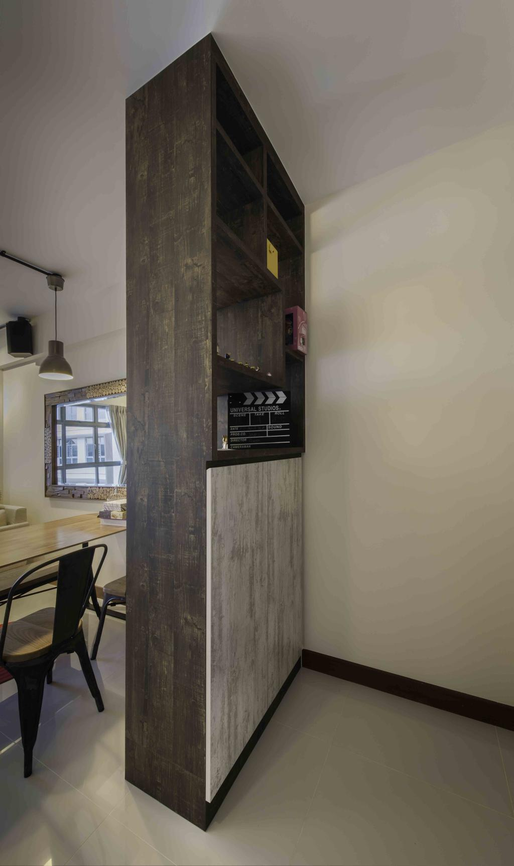 Industrial, HDB, Dining Room, Upper Serangoon View (Block 476), Interior Designer, Cozy Ideas Interior Design, Shoe Cabinet, Shoe Storage, Entrance, Grey Laminate, Window, Dining Table, Furniture, Table, Appliance, Electrical Device, Oven