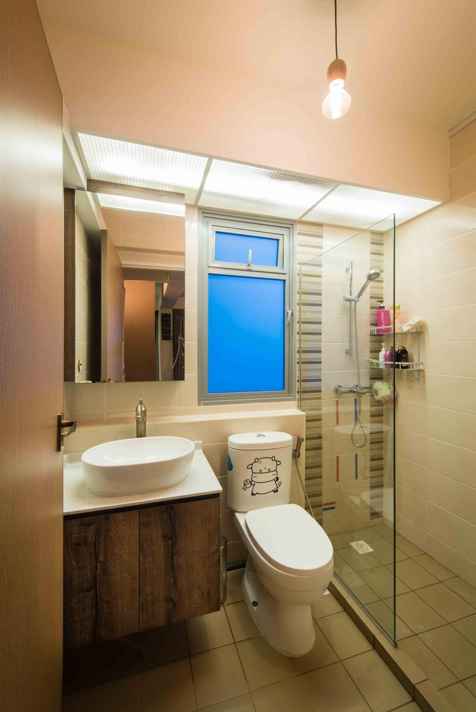 Industrial, HDB, Bathroom, Upper Serangoon View (Block 476), Interior Designer, Cozy Ideas Interior Design, Pendant Lamp, Industrial Lamp, Vanity Cabinet, Wall Sticker, Indoors, Interior Design, Room