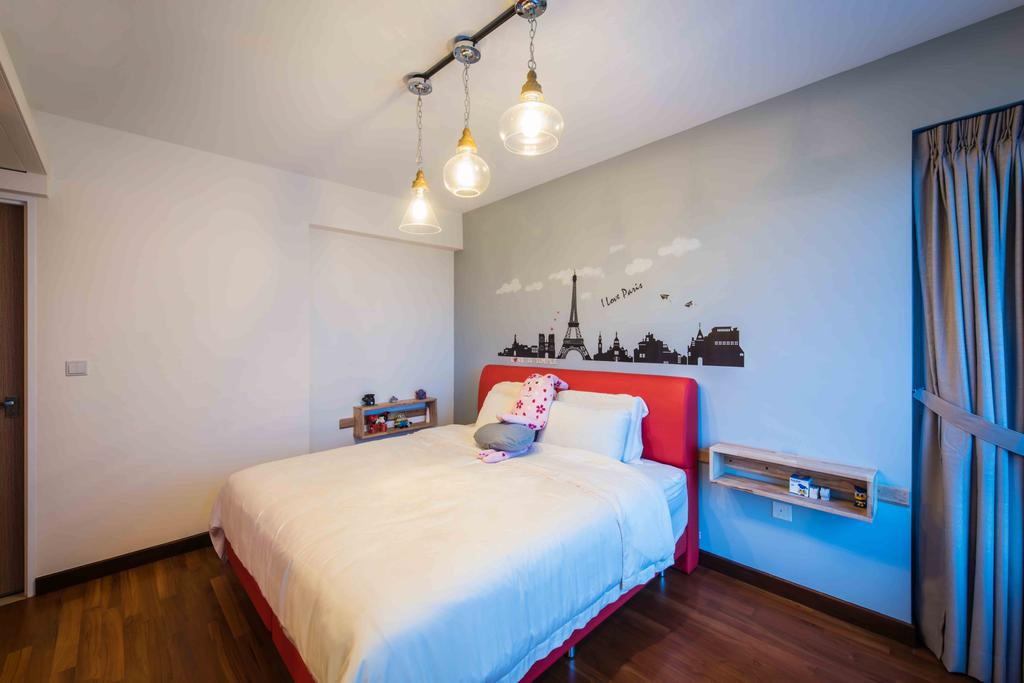 Industrial, HDB, Bedroom, Upper Serangoon View (Block 476), Interior Designer, Cozy Ideas Interior Design, Wall Decal, Wall Sticker, Pendant Lights, Glass Lamps, Hanging Lights, Bedframe, Red Bedframe, Mattress, Ledge, Mount On Shelf, Curtains, Indoors, Interior Design, Room, Bed, Furniture