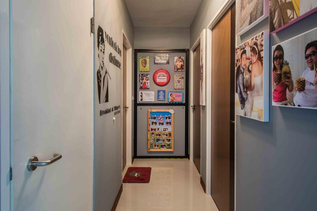 Upper Serangoon View (Block 476), Cozy Ideas Interior Design, Industrial, Kitchen, HDB, Storeroom, Household Shelter, Bomb Shelter, Walkway, Hallway, Corridor, Tiles, Fridge, Refrigerator, Human, People, Person