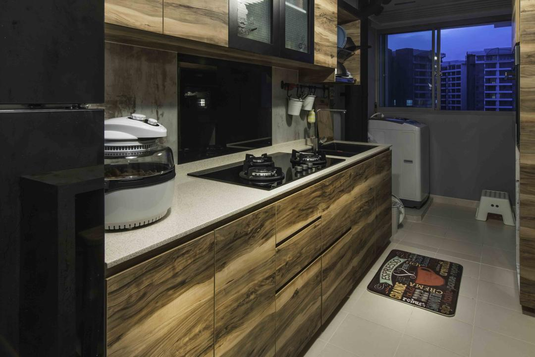 Upper Serangoon View (Block 476), Cozy Ideas Interior Design, Industrial, Kitchen, HDB, Wood Laminate, Tiles, Kitchen Workspace, Pendant Light, Dark, Dim, Countertop, Appliance, Electrical Device, Oven