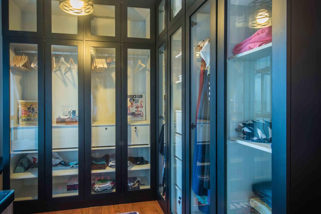 Upper Serangoon View (Block 476), Cozy Ideas Interior Design, Industrial, Bedroom, HDB, Black Framed Partition, Wood Flooring, Ceiling Lamps, Glass Door, Wardrobe, Cabinet, Bags Display