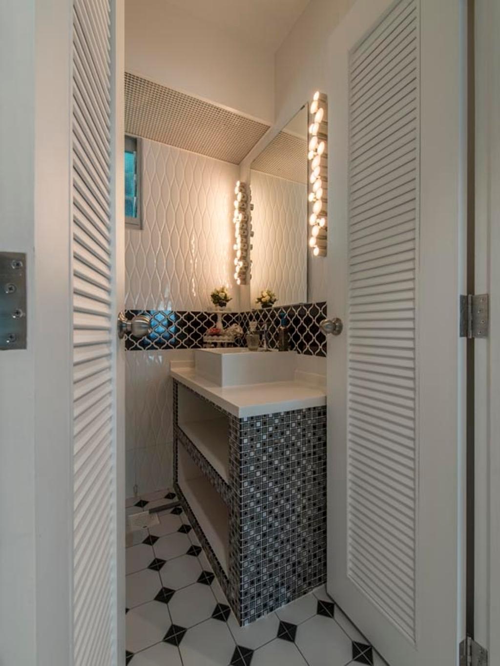 Vintage, HDB, Bathroom, Edgefield Plains (Block 671B), Interior Designer, Fifth Avenue Interior, Tiles, Floor Tiles, Bathroom Vanity, Mirror, Lighting, Tiling, Sink, Bathroom Sink, Door, White Door, Shutter Door