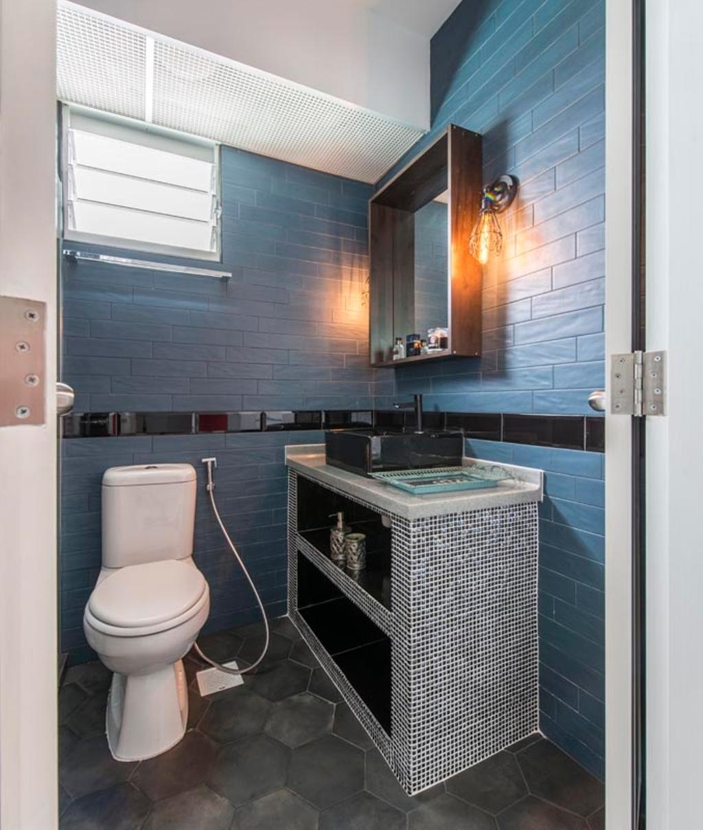 Vintage, HDB, Bathroom, Edgefield Plains (Block 671B), Interior Designer, Fifth Avenue Interior, Bathroom Vanity, Bathroom Sink, Sink, Mirror, Wall Sconce, Blue, Blue Walls, Bathroom Tiles, Tiles, Toilet, Indoors, Interior Design, Room