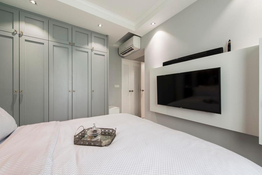 Vintage, HDB, Bedroom, Edgefield Plains (Block 671B), Interior Designer, Fifth Avenue Interior, Bed, White, White Bed, Tv, Aircon, Wardrobe, Clean, Simple, Uncluttered, Cosy, Cozy, Corridor, Indoors, Room