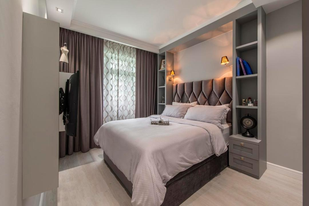 Edgefield Plains (Block 671B), Fifth Avenue Interior, Vintage, Bedroom, HDB, White, Clean, Luxe, Headboard, White Bedsheet, Shelves, Shelving, Hanging Lamp, Curtains, Grey, Indoors, Room