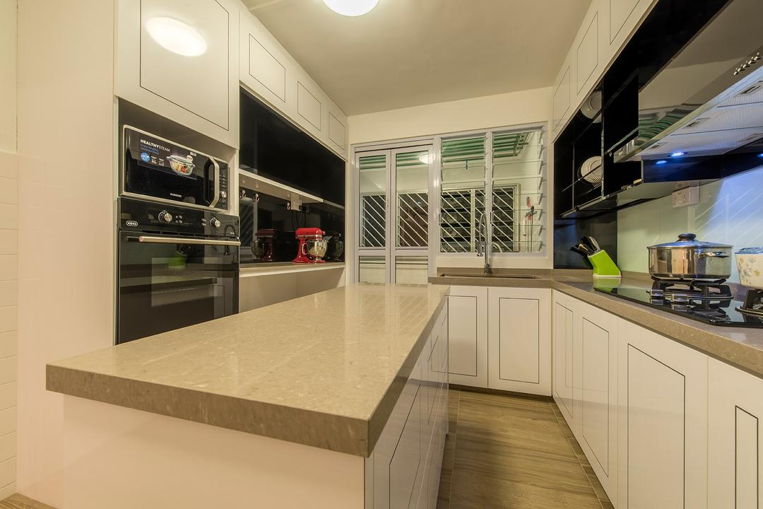 Clementi Ave 4, Ace Space Design, Transitional, Kitchen, HDB, Kitchen Countertop, Countertop, Kitchen Cabinet, Cabinetry, Wood, White, Oven, Kitchen Aid, Mixer, Stove, Light Wood, Appliance, Electrical Device, Microwave