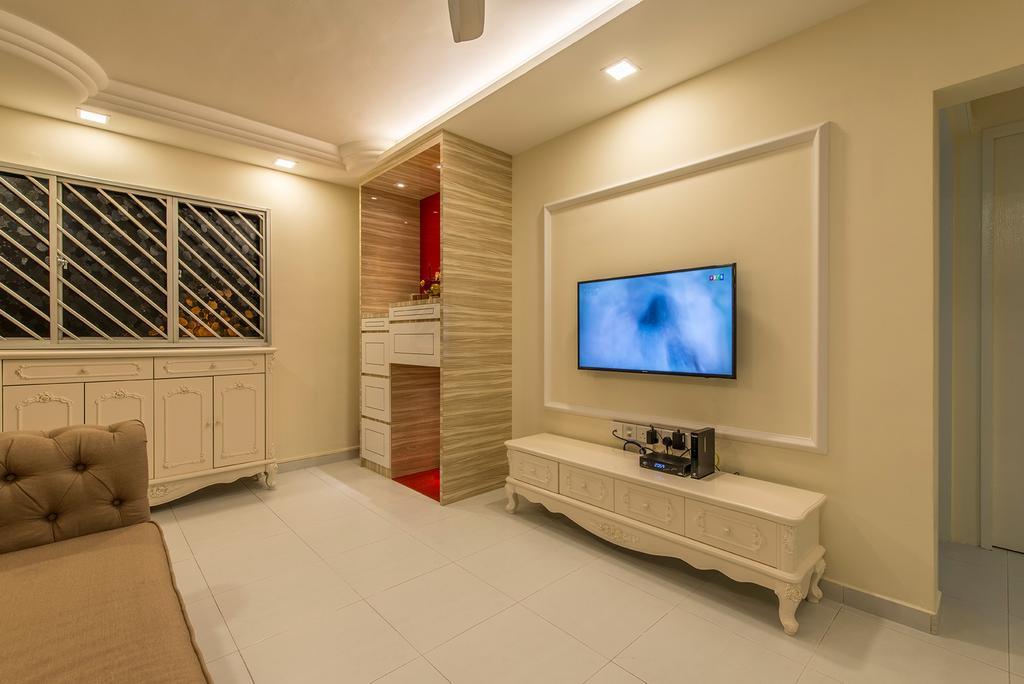 Transitional, HDB, Living Room, Clementi Ave 4, Interior Designer, Ace Space Design, Downlight, Tv, Tv Cabinet, Window Grill, Altar, Cove Lighting, Plain, Simple, Flooring