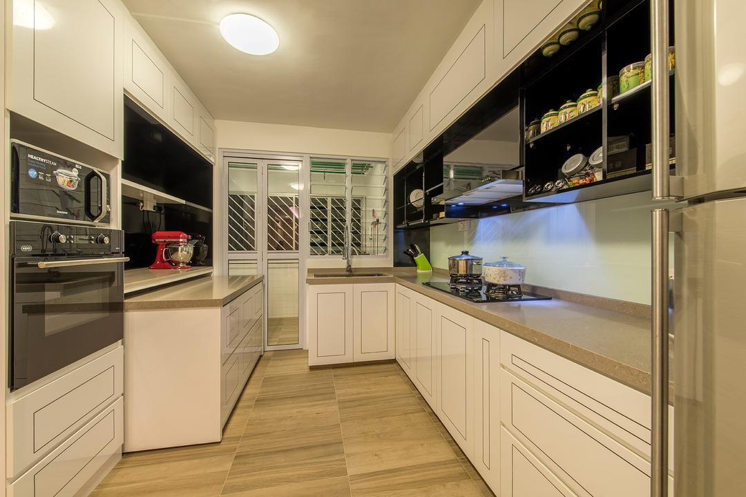 Clementi Ave 4, Ace Space Design, Transitional, Kitchen, HDB, Kitchen Cabinet, Cabinetry, Shelves, Shelving, White Cabinet, Exhaust Hood, Stove, Oven, Kitchen Countertop, Pull Out, Pull Out Countertop, Wood Floor, Wooden Flooring, Appliance, Electrical Device