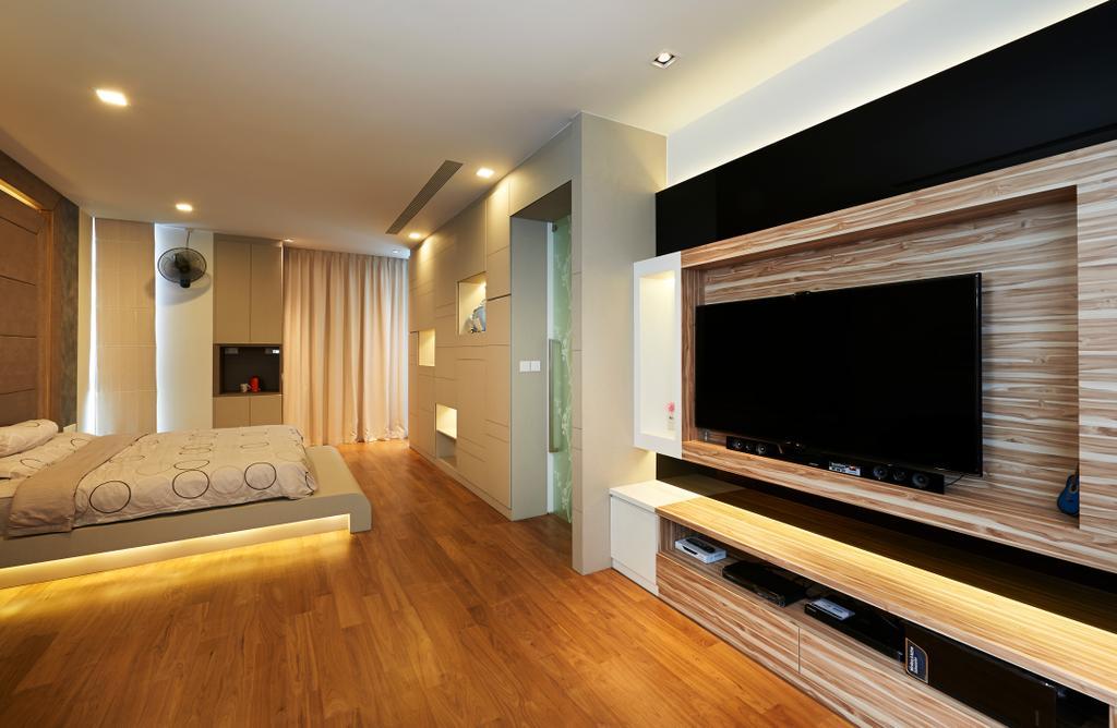 Modern, Landed, Bedroom, Goodman Road, Interior Designer, U-Home Interior Design, Electronics, Entertainment Center, Hardwood, Wood