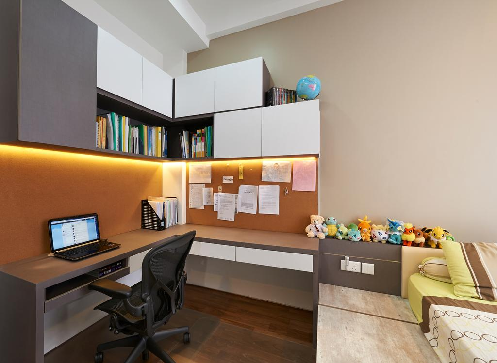 Modern, Landed, Study, Goodman Road, Interior Designer, U-Home Interior Design, Computer, Electronics, Laptop, Pc, Shelf